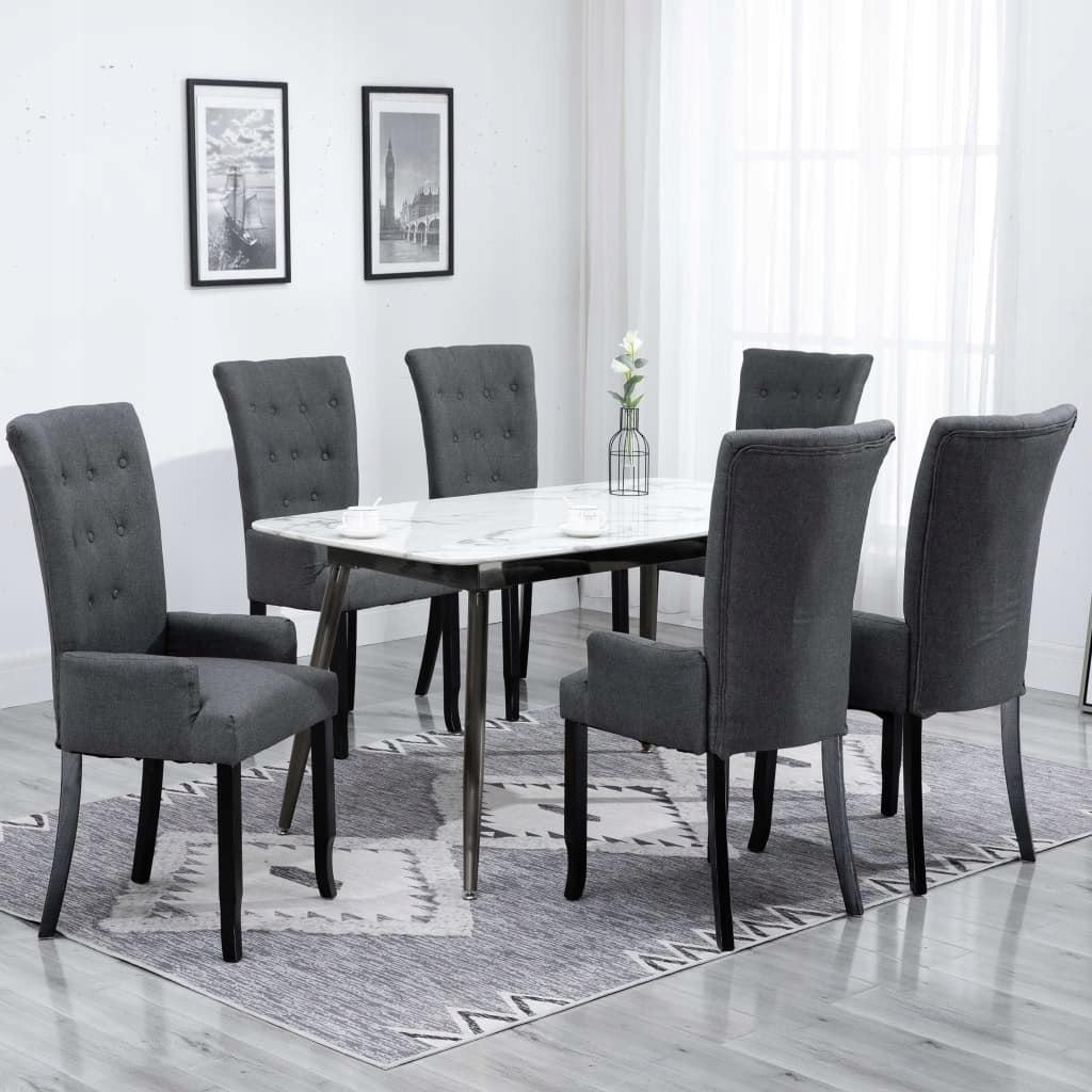 Krzesła stołowe z podłokietnikami, 6 szt., ciemnos