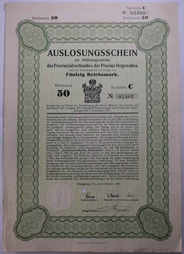 Obligacja niemiecka 50 marek Królewiec 1.10.1927