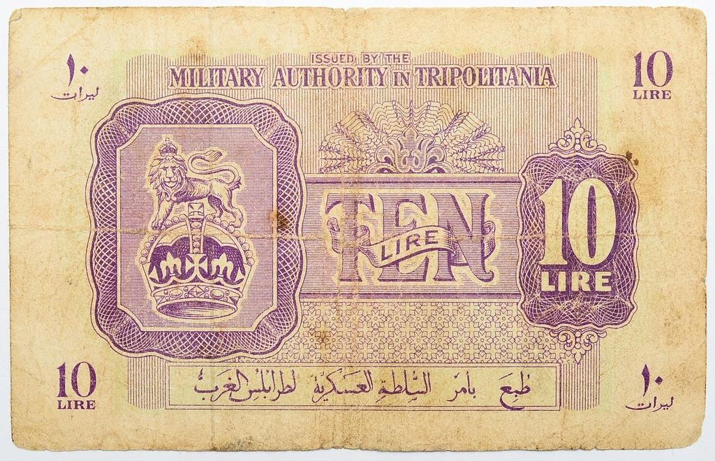 27.Trypolitania, 10 Lirów 1943 rzadki, P.M4, St.3