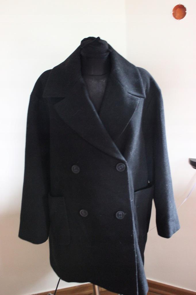 MARKS&SPENCER płaszcz wełniany czarny 42