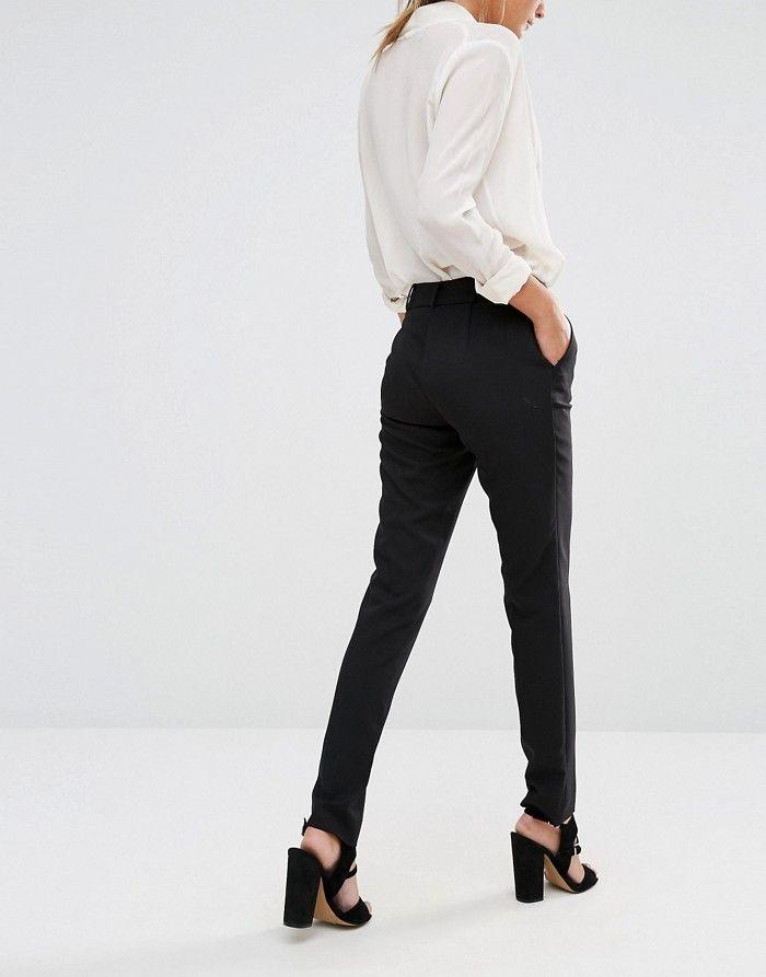 NEW LOOK Czarne eleganckie spodnie w kant (34)