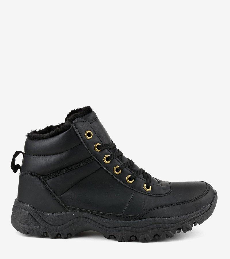 Czarne ocieplane buty trapery męskie GT-9578-1 45