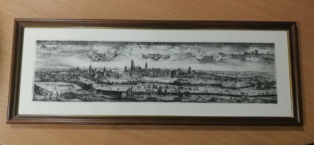 Rycina panoramy Gdańska z podpisami Posłów