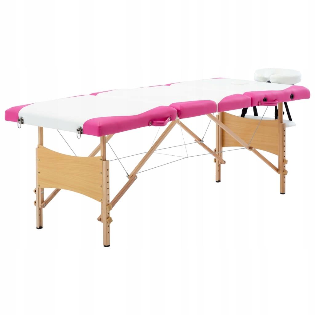 Składany stół do masażu, 4 strefy, drewniany, biał