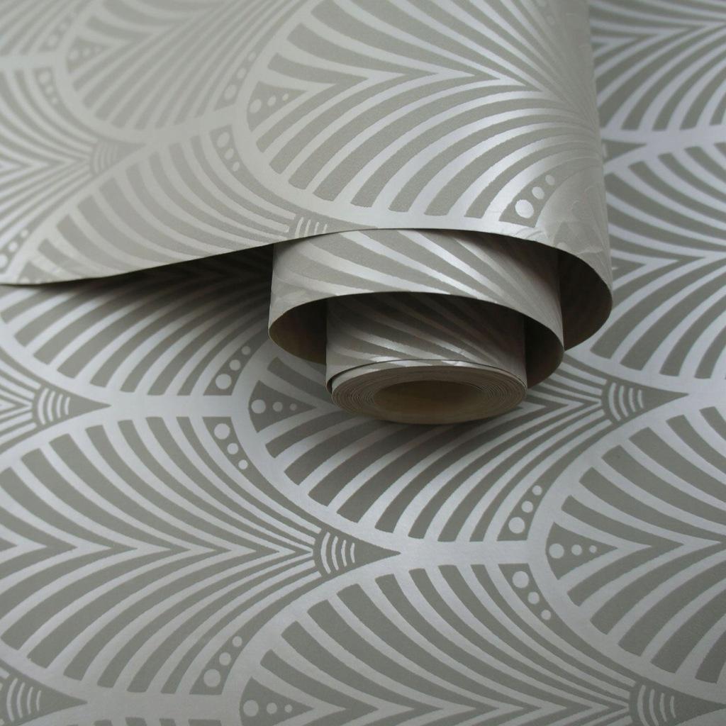 Tapeta w szarego pawia w stylu art deco B/E7