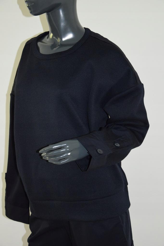 cos granatowa bluzka bawełna mankiety r. M/38