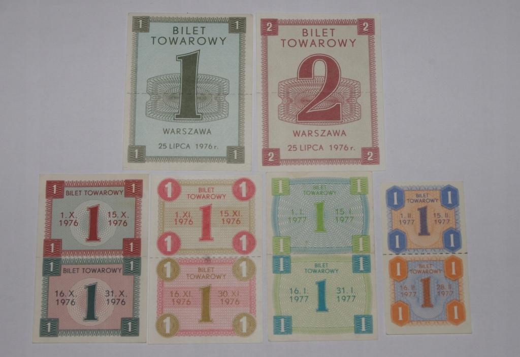 KARTKI NA CUKIER Z PRL - 76/77