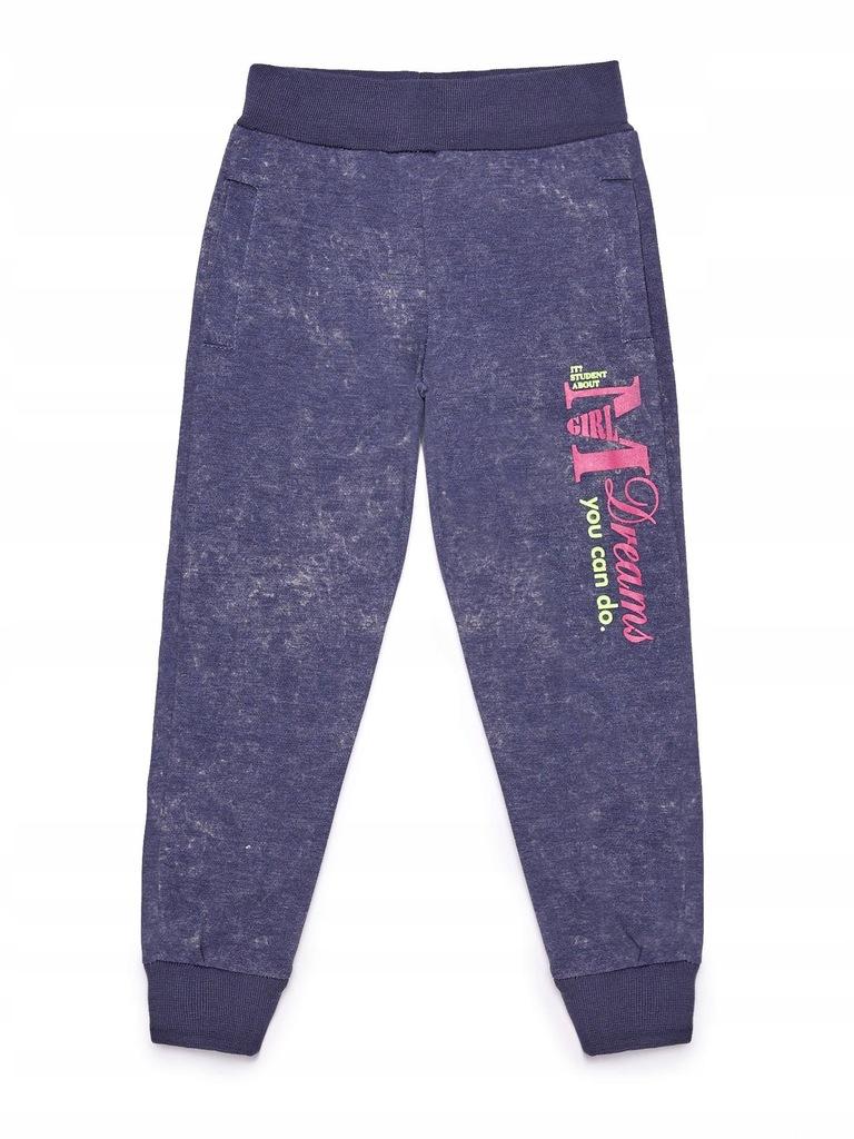 Spodnie dresowe dla dziewczynki granatowe 4