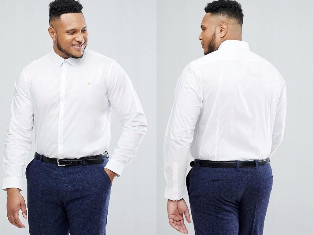 Farah koszula slim fit w kolorze białym 4XL