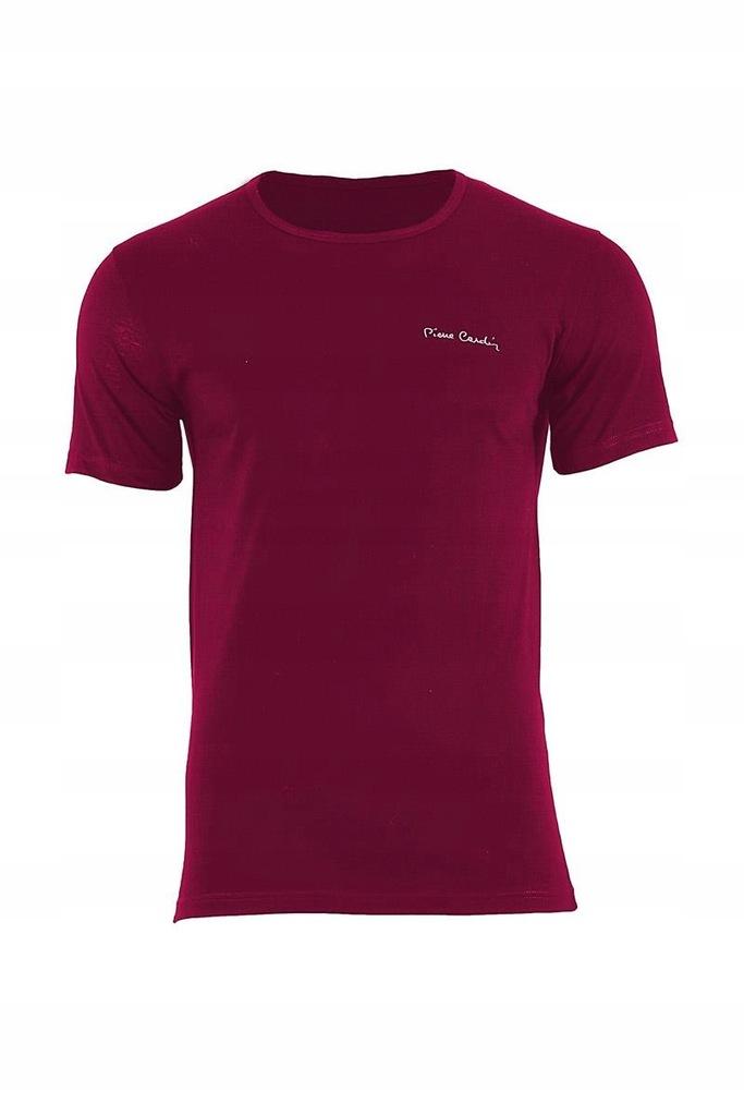 T-shirt Męski Model Arturo Rneck Bordo - Pierre Ca