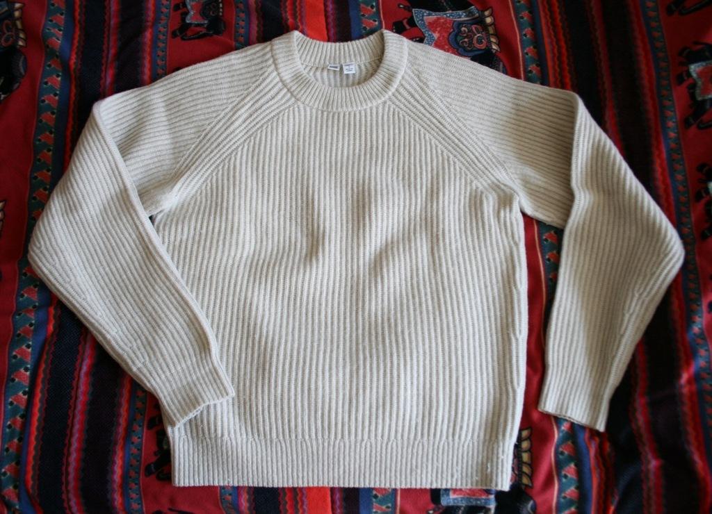 UNIQLO U sweter teksturowany beżowy kremowy aran S