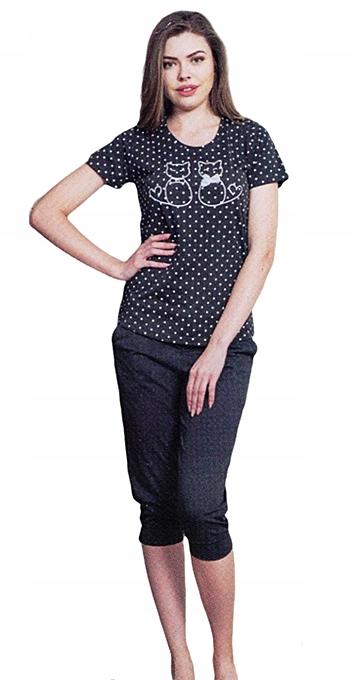 Piżama damska Vienetta KOTY 3/4 spodnie roz.XL