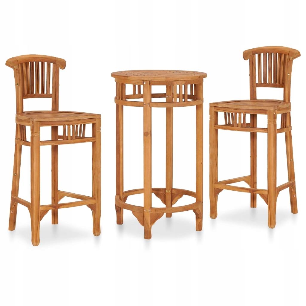 3-cz. ogrodowy zestaw mebli barowych, lite drewno