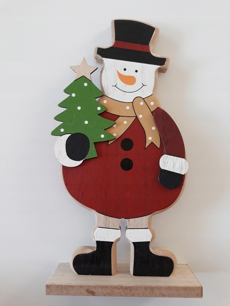 Drewniana ozdoba Mikołaj duży 25 cm