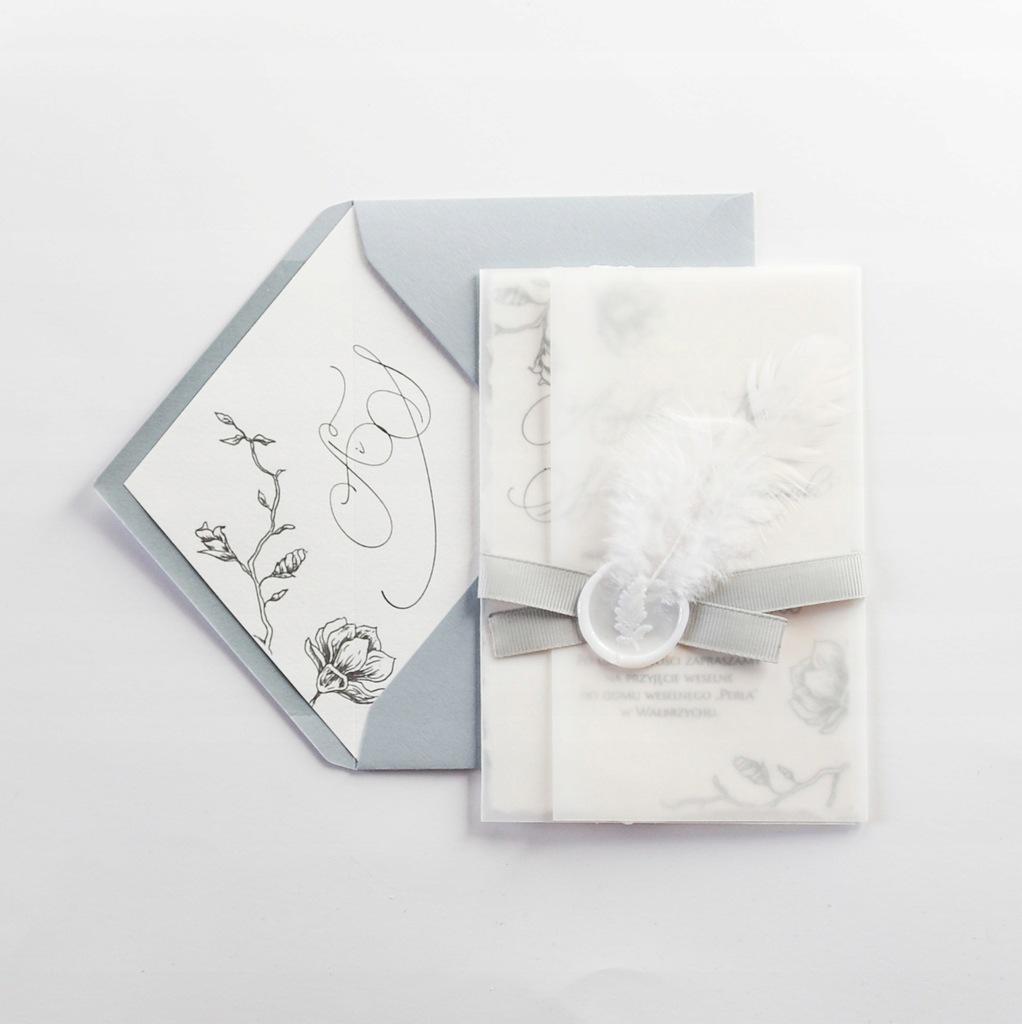 Zaproszenie ślubne Magnolia próbka lak piórko