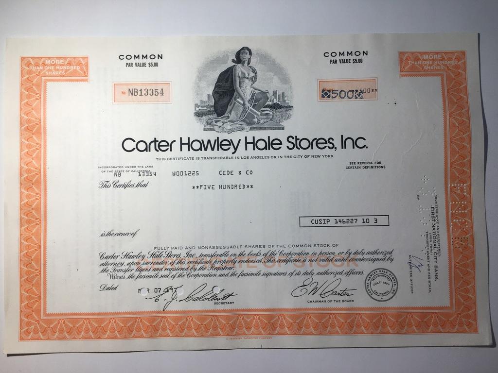 CARTER HAWLEY HALE STORES INC
