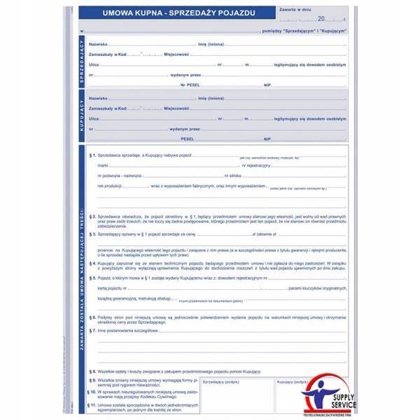 Druk umowa kupna sprzedaży pojazdu A4 650-1