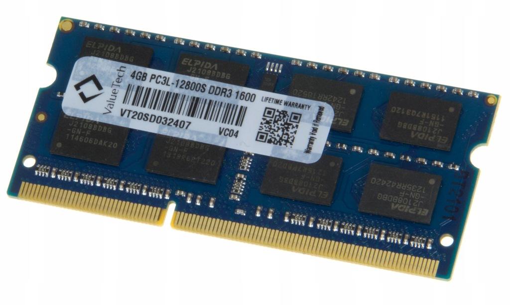 PAMIĘĆ RAM LAPTOP 4GB DDR3 PC3L VALUETECH VC04