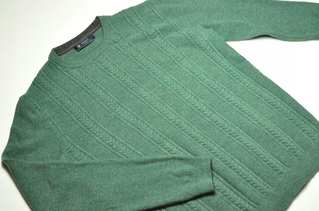 ATT męski sweter wełniany Riley warkocze zielony L