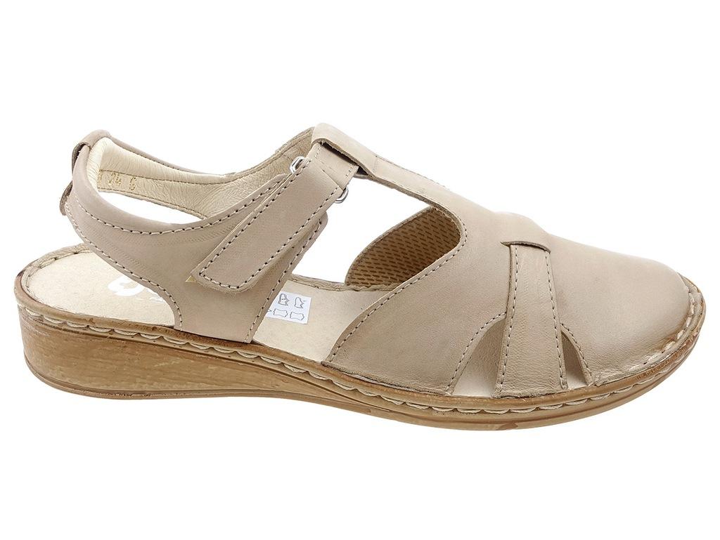 Escott sandały komfort 1504 beż, skóra 36