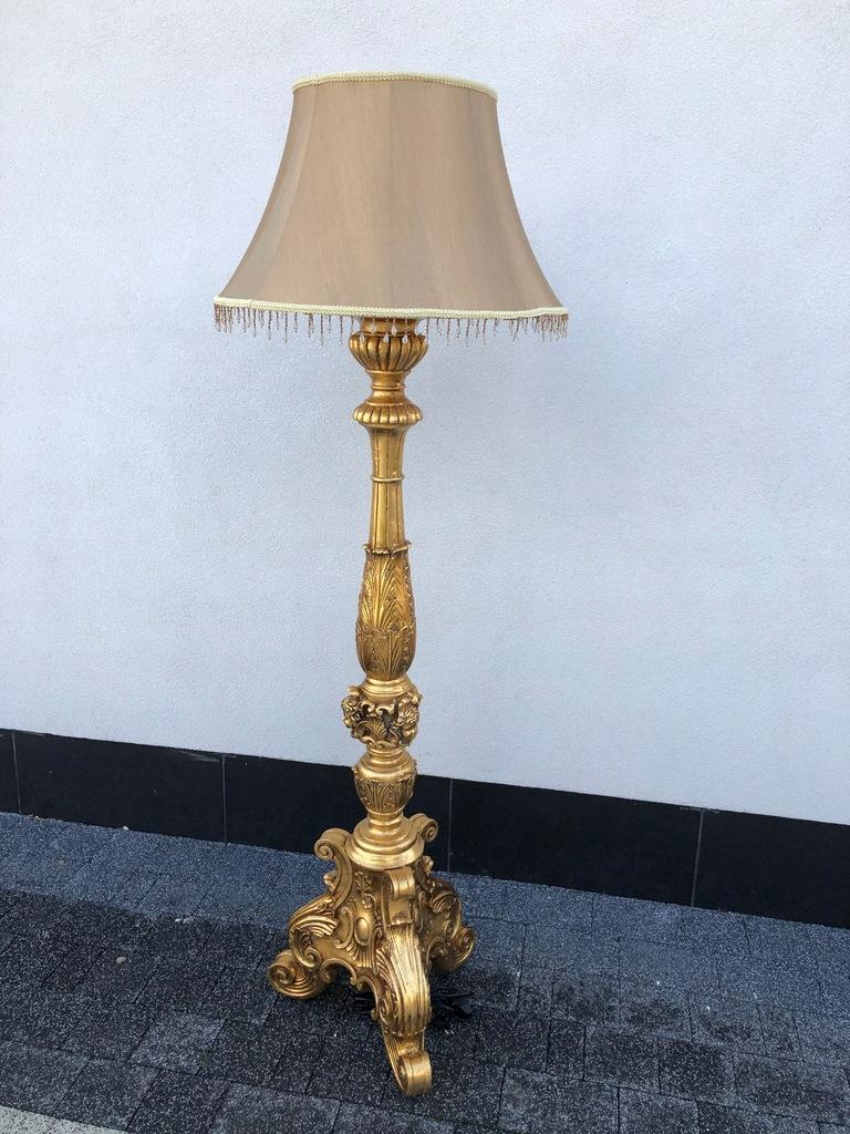 BAROKOWA LAMPA PODŁOGOWA rzeźbiona ZŁOTA