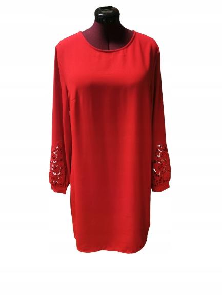 Nowa czerwona sukienka H&M rozmiar 44 z haftem
