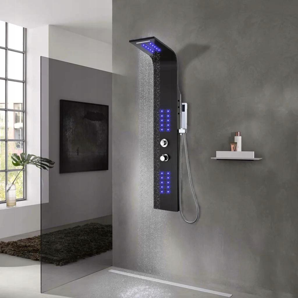 Panel Prysznicowy Aluminiowy Czarny 20x44x130 cm