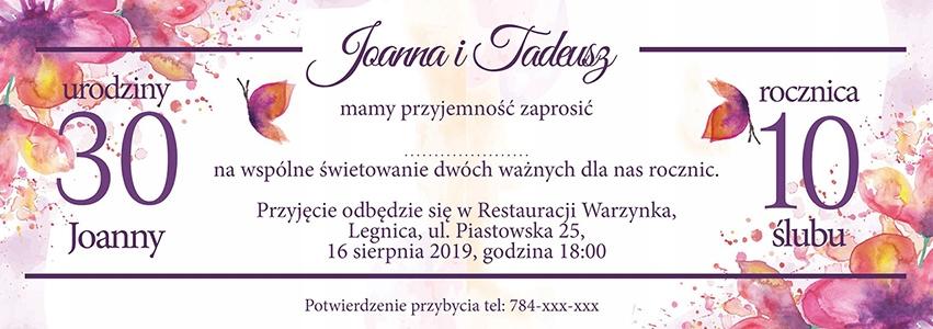Zaproszenie na urodziny 2 okazje podwójne