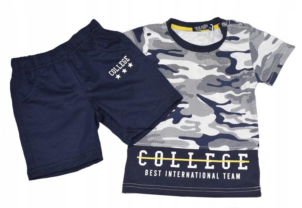 Komplet chłopięcy bluzka spodenki lato moro 92-98