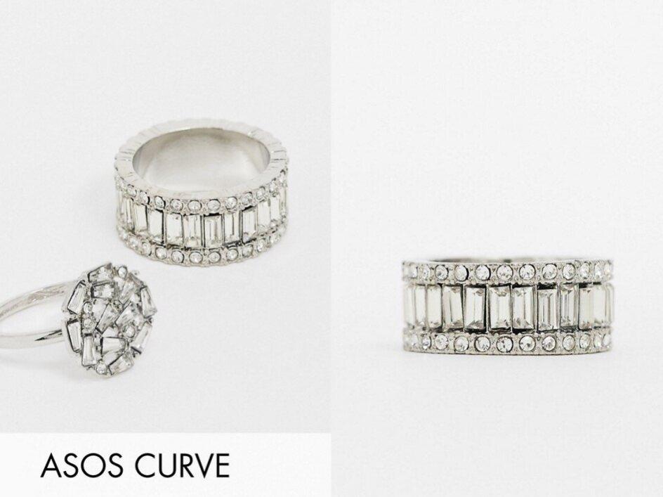 DESIGN Curve Srebrny pierścionek kryształki L