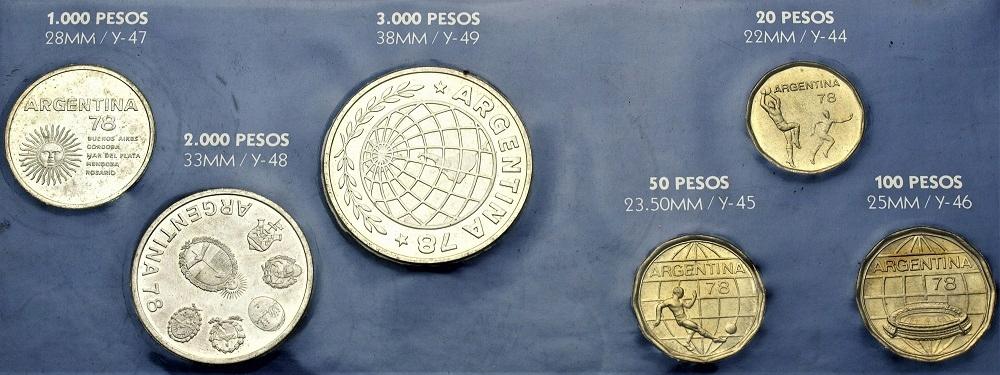 Argentyna 1978 Zestaw Pesos SREBRO + AL