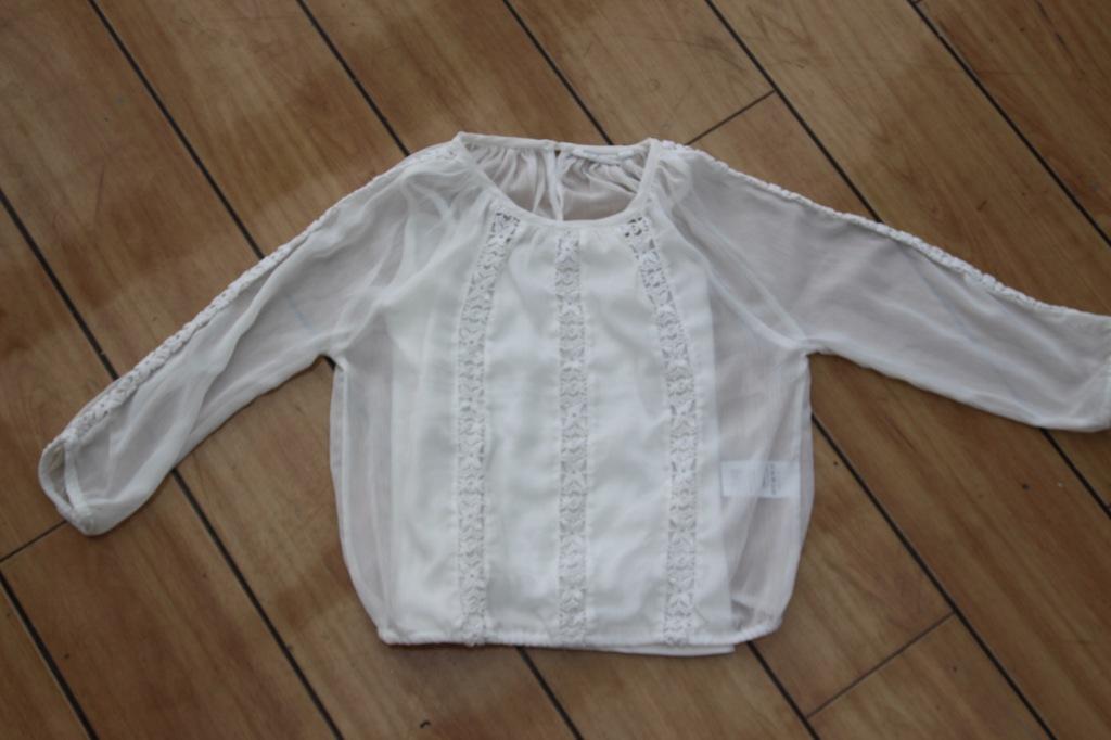 KappAhl biała elegancka bluzka 2w1 122/128
