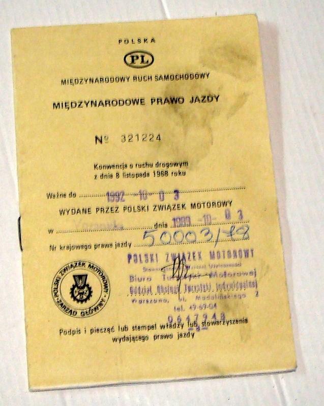 Międzynarodowe Prawo Jazdy - Warszawa 1989.