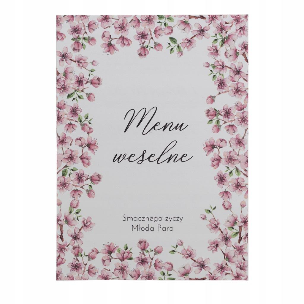 Menu weselne karta dań na wesele botaniczne wiśnia