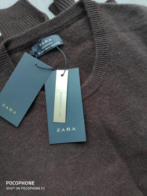 Kaszmirowy sweter brązowy czekoladowy L Zara