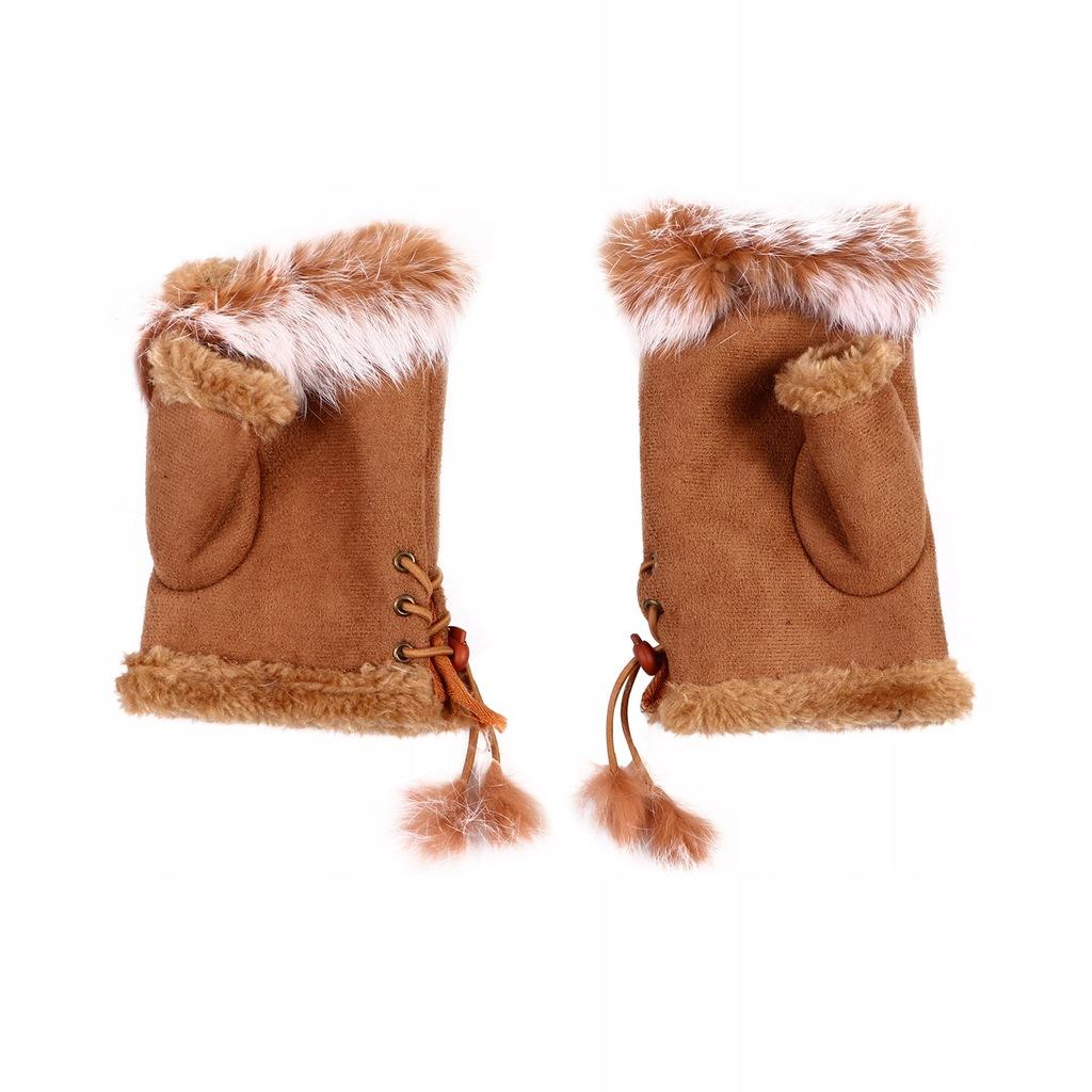 1 para ciepłe rękawiczki z futra królika rękawiczk