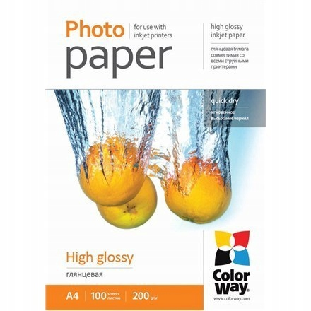 ColorWay High Glossy Photo Paper, 100 sheets, A4,