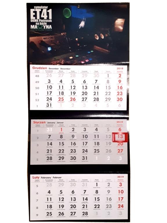 Kalendarz trójdzielny ze zdjęciem symulatora ET41