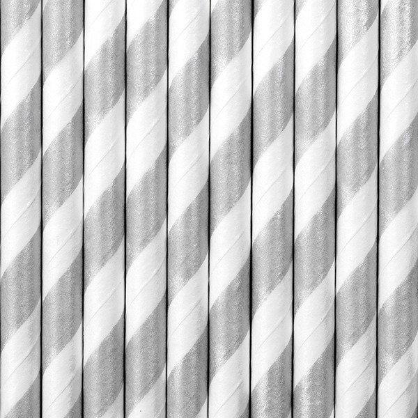 Słomki papierowe, srebrny, 19,5cm(1 op. / 10 szt.)