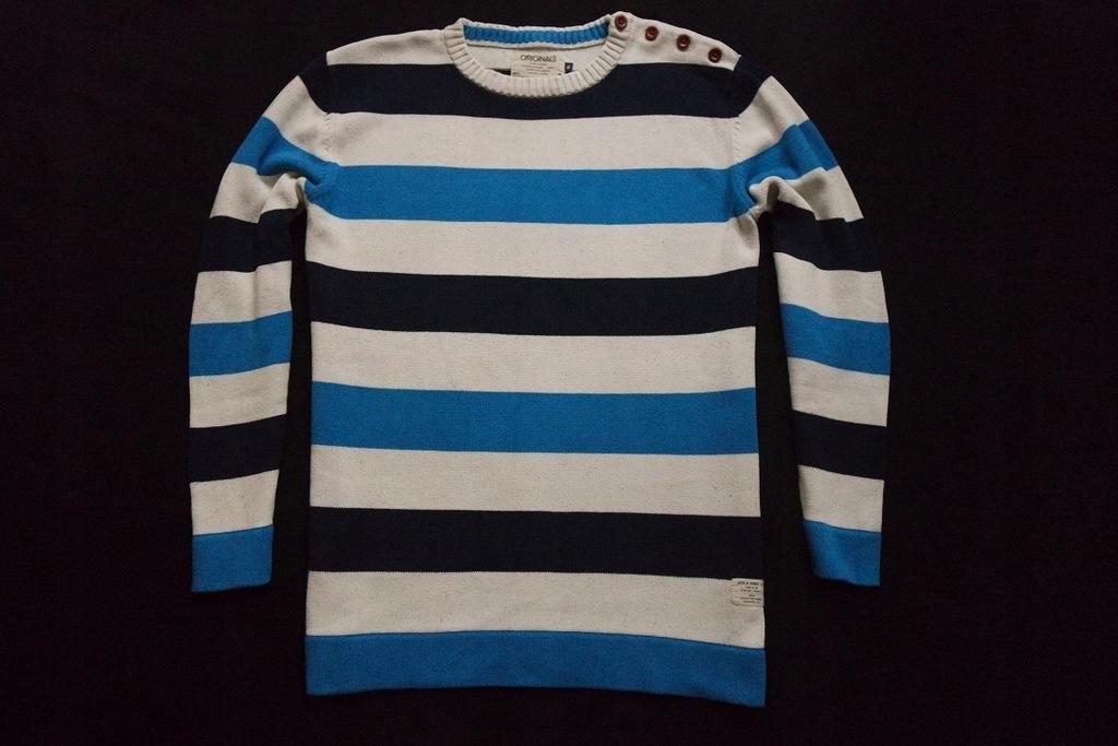 JACK&JONES sweter sweterek paski logowany___XL