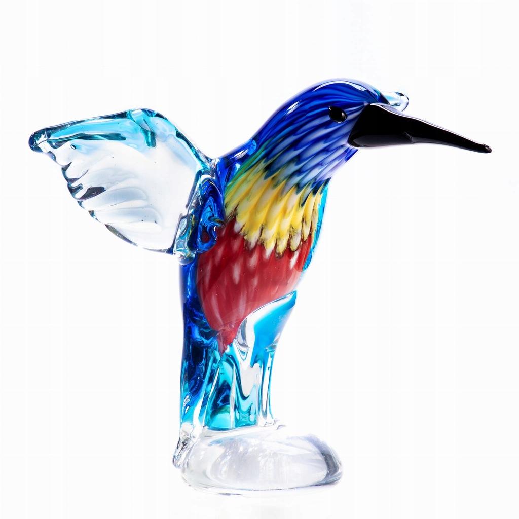 Figurka Kolibra Szklana Wielokolorowa Styl Murano
