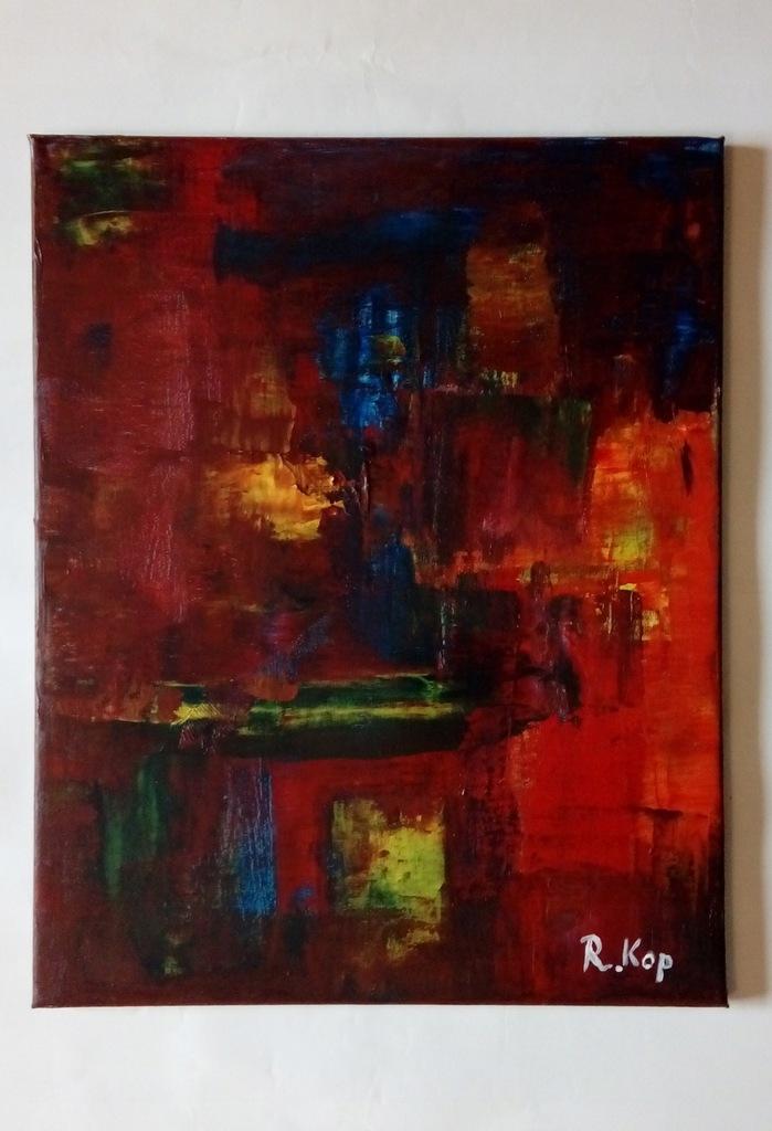 Obraz olejny, abstrakcja, kolory, 40,5x51cm