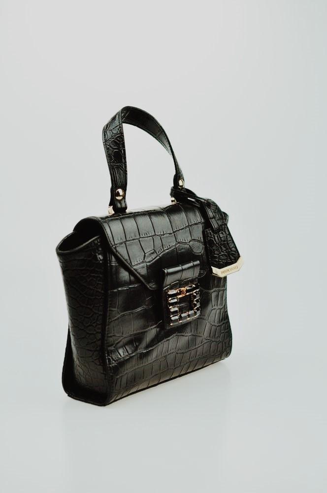 MARCIANO GUESS Czarna wężowa torebka kuferek
