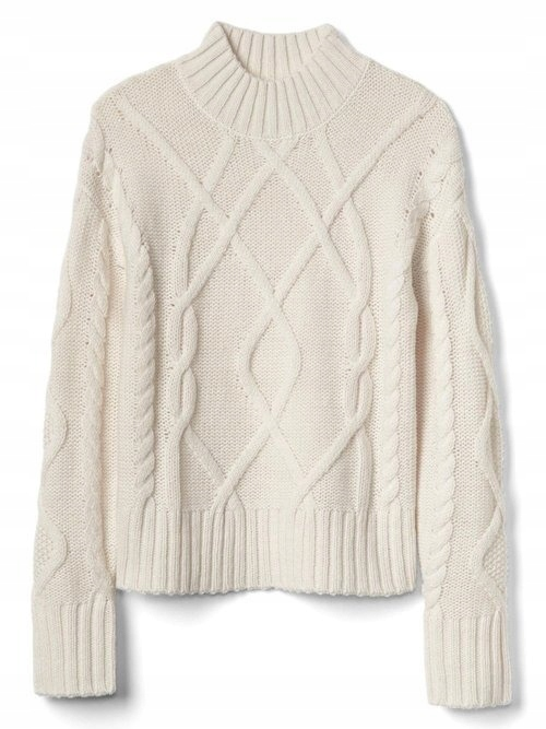 Sweter GAP CABLE KNIT MOCKNECK damski pleciony r L