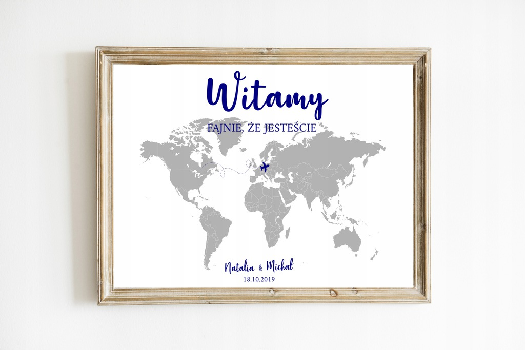 Plakat powitalny, mapa, na wesele, 50x70