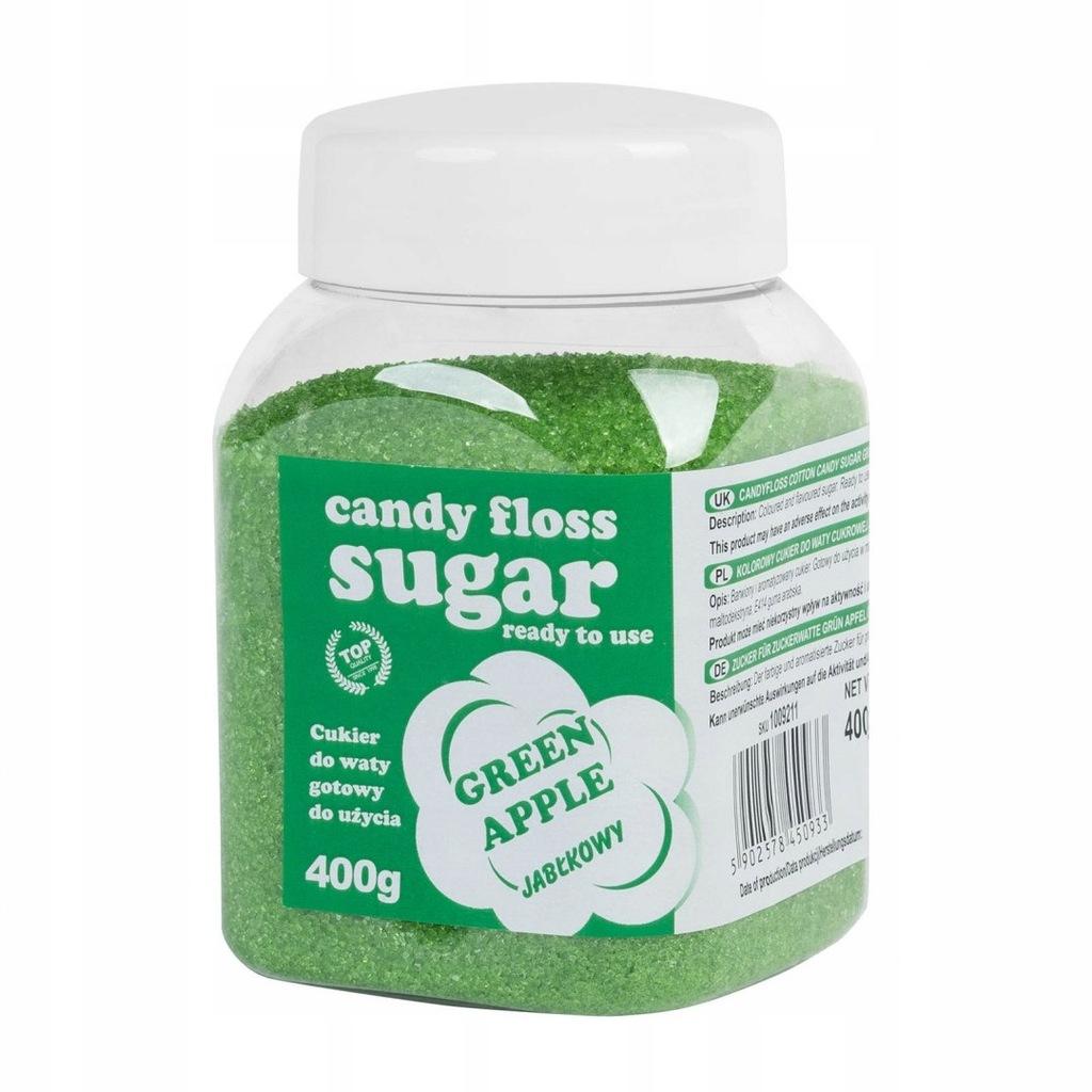 Kolorowy cukier do waty cukrowej zielony o smaku j