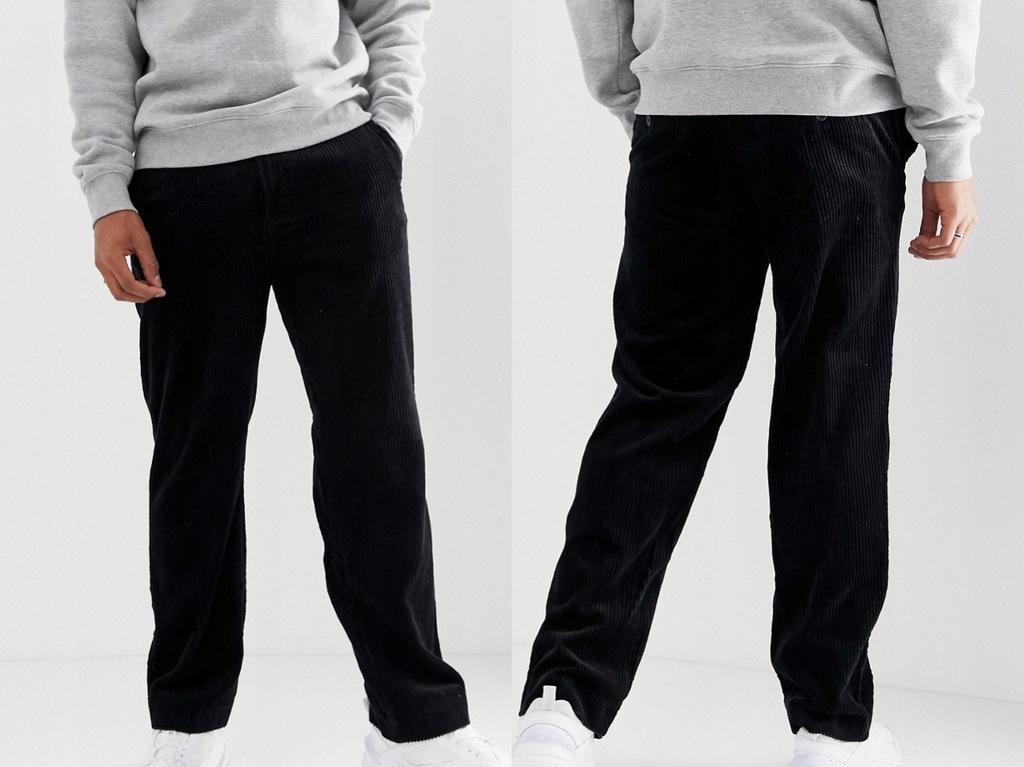 Weekday - Czarne sztruksowe spodnie W34