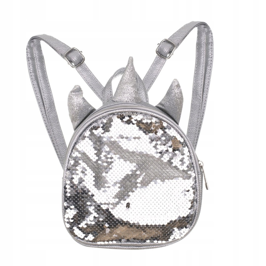 Plecak przedszkolaka cekinowy mini jednorożec sreb