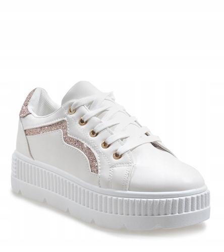 Białe trampki buty tenisówki platforma BM1980 38