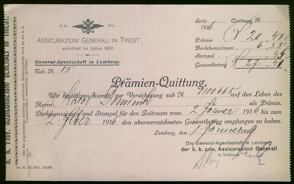 Lemberg 1916r Pramien Quittung Assicurazion TRIEST